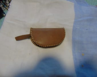 vintage doll zipper bag leather coin purse