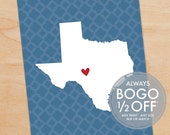 Map of Texas, Large Canvas, Texas print, Texas art, Texas wall art, Texas decor, Texas home decor, heart map