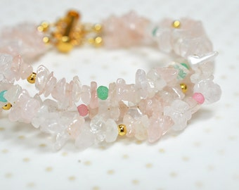 Pink rose quartz bracelet Chunky cuff bracelet Pastel gemstone nugget bracelet Boho multi strand bracelet Semi precious gem stone jewelry