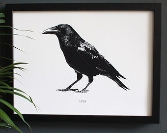 Encyclopedia Inspired Fine Art Print, Crow