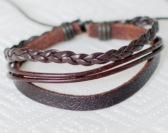 120 Men's brown leather bracelet Woven bracelet Leather cords bracelet Men bracelet Braided bracelet Leather jewelry Gift For men and women