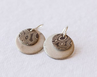 Mokume Gane Disk Earrings