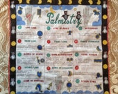 Vintage Hanky Fortune Telling Theme Palmistry Palm Reading Kitschy Fabric Handkerchief Owls Moons Ladies Vanity Accessory