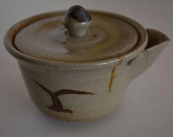 Japanese Houhin pottery teapot, ceramic kyusu, kintsugi golden repair