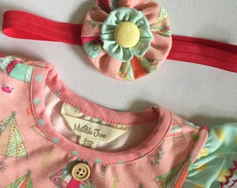 M2M Matilda Jane HAPPY and FREE Happy Camper Baby Romper Hair Bow Flower Clip or Headband