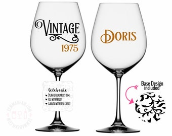 Birthday gifts for her - Vintage theme - wine glass - birthday for her - Name included