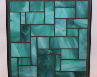 Teal Stained Glass Mosaic Trivet