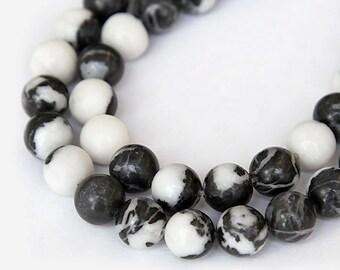 Mexican Zebra Jasper Beads, 8mm Round - 15 inch strand - eGR-JA015a-8
