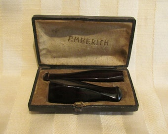 Vintage 1920s Amberith Cigarette Holder and Cigar Holder Matched Set with Leather Presentation Box Excellent Condition