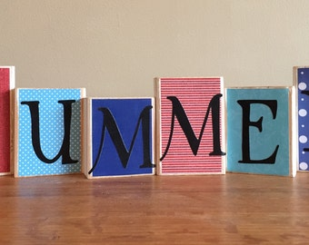 Wood SUMMER blocks, Seasonal, july 4th Decor, red, white, and blue, summer decor, wood sign, Home Decor