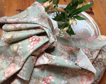 vintage Ralph lauren charlotte napkins shabby chic cotton pale green and pink ralph lauren linens vintage cottage summer napkins cotton