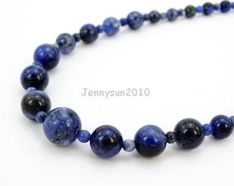 Handmade Natural Sodalite Gemstone Beads 4~12mm Graduated Adjustable Necklace Healing Jewelry Making