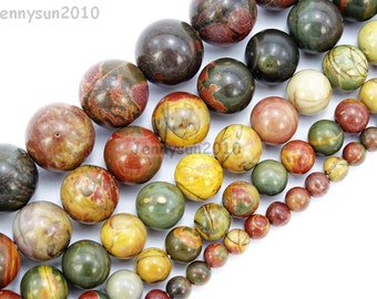 Natural Picasso Jasper Gemstone Round Beads 16'' 4mm 6mm 8mm 10mm 12mm 14mm Great For Jewelry Design