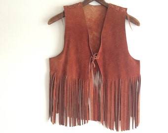 Suede fringe vest authentic vintage americana natural leather