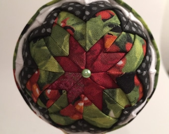 Quilted Ornament Ball Holly Berries Christmas Red Green Black White