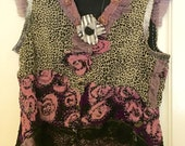 FANCY SHMANCY CAMISOLE, Artsy Upcycled Softest Animal Print Silk, Embroidered Lilac-colored roses, Artsy Black Lace, Hand-made Flower Pin