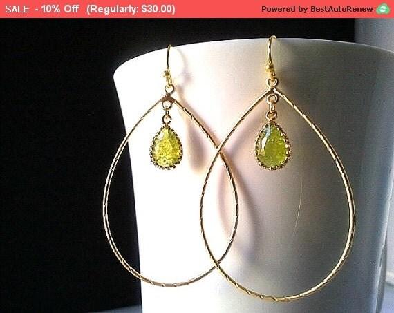 Large Gold Teardrop Hoop Earrings With Crackle Peridot  Drop Earrings, Drop Silver ,Drop, Dangle, Earrings,bridesmaid gifts,Wedding jewelry