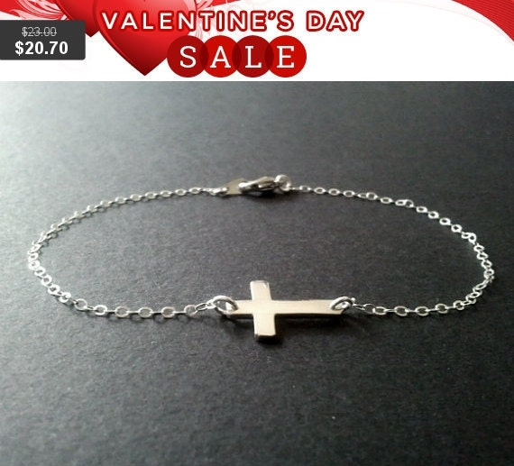 Sideways Cross silver charm bracelet, (Sterling Silver Pendant) Bangle,Friendship, Charm, Chain Bracelet - Silver or Gold