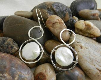 Freshwater pearl coin earrings, silver figure-8, silver drop earrings