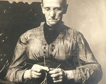 Antique Photo Woman Knitting with 3 Needles Needlework Photograph