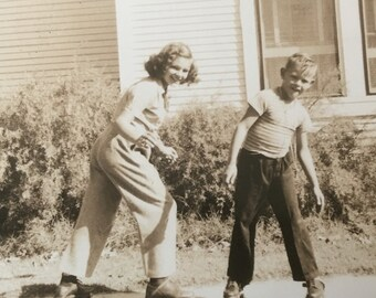Shes Got a Brand New Pair of Rollerskates Vintage Photo