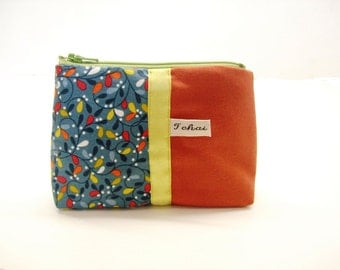 coin case foxy and blue fabric-purse in canvas-zippered case small leaves