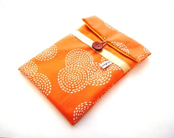 orange ipad case in padded fabric-8 inches case in canvas