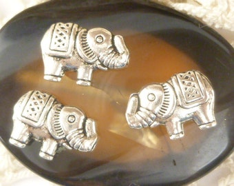 Whimsical Two-sided Elephant Spacer Beads, Antique Silver (8) - SF2