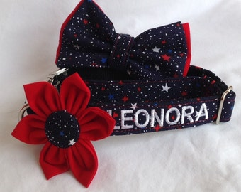 Dog Collar Flower Set Embroidered With Your Dogs Name - Colorful  Stars With Metal Hardware - Size XS, S, M, L, XL