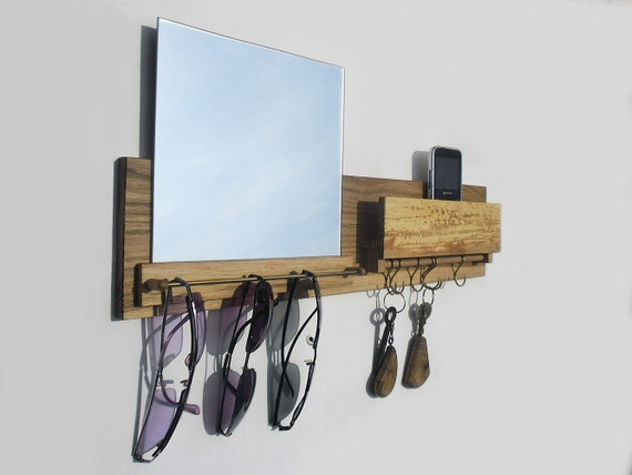 Key rack sunglasses holder with mailbox and mirror entryway for Mirror key holder