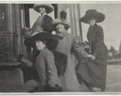 Old Photo Women wearing Coats Hats on Trolley Car Conductor Early 1900s Photograph snapshot Vintage