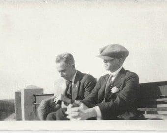 Old Photo 2 Men wearing Suits and Hats 1920s Photograph snapshot vintage