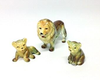 Vintage Lion Family - Mini Animal Figurines - Bone China from Japan