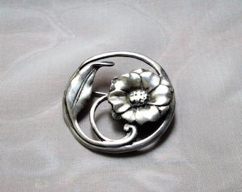 Art Nouveau Flower Brooch - Antique Sterling Floral Pin - 1930's FAB