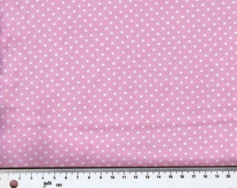 Fat Quarter Baby Pink With White Dots 100% Cotton Quilting Fabric Makower