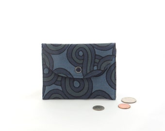 Small blue wallet, blue zipper coin purse, blue gift card holder, blue cardholder, small navy wallet, navy coin purse, mini navy wallet