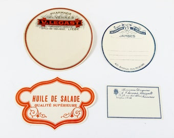4 Authentic Vintage French Pharmacy Labels - Old Store Stock Unused - Not Repros! From France