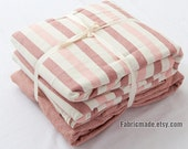 "98""/ 250cm Wide Quilt Cotton Fabric/ Pink Blue Green Stripes Plaid Soild Cotton Fabric/ Prewashed Soft Cotton - Muji Style 1/2 Yard"