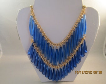 2 Row Bib Necklace with a Top Light Blue and Bottom Darker blue Dangle Beads on a Gold Tone Chain