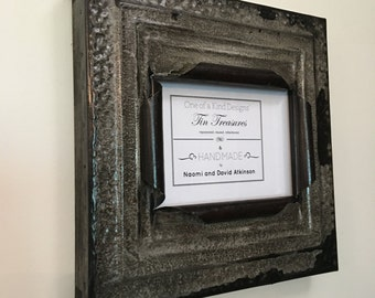 5 x 7 distressed charcoal gray/black color antique tin ceiling tile picture frame
