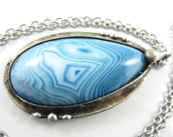 ebb and flow - large blue onyx druzy pendant