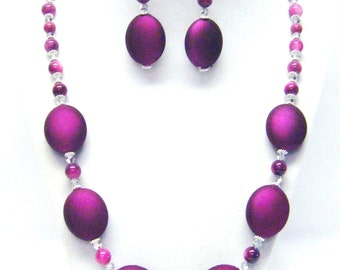 Purple Satin Puffy Oval Lentil Bead Necklace & Earrings