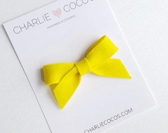 "SALE Baby / Girls Felt Bow Headband OR Hair Clip ""Starburst Yellow"" -Premium Wool Felt Bow by charlie coco's"