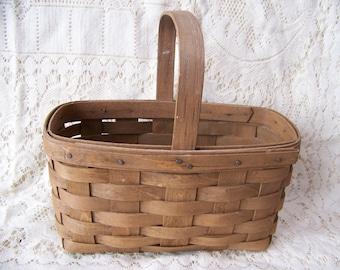 Vintage Longaberger Small Market Basket 1985 in Original Dark Stain with Stationary Handle.Dresden, Ohio.Basket with Handle.Handwoven Basket