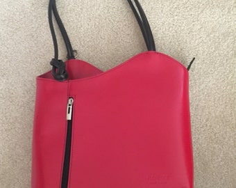 NEW Italian Leather Handbag Red with Black Trim