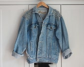 RESERVED FOR MARIE    Grunge Spiked Denim Jacket