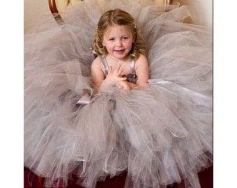 Silver Flower Girl Dress, Silver Gray Tulle Dress, Toddler Formal Dress