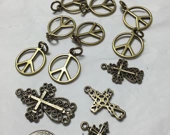 12 pieces bronze corsses bronze Peace signs