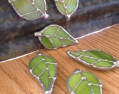 Leaf Magnet, Green Stained Glass