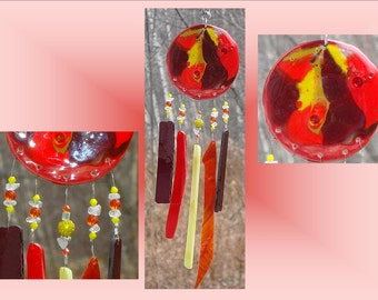 Red Glass Windchime Ceramic Wind Chime Garden Decor Stained Glass Window Suncatcher Hanging Mobile Pottery